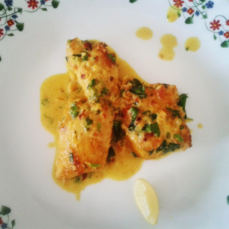 Rawas (Indian salmon) masala with coconut curry – Fried fish with coconut sauce