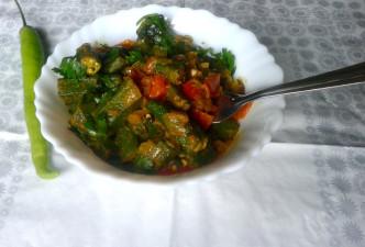 Punjabi Bhindi Masala Recipe – Sautéed Okra with Onions, Tomatoes and Spices