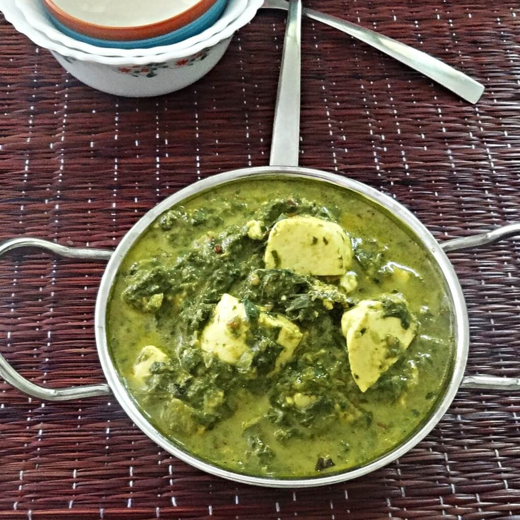 Palak Saag Paneer Recipe Spinach With Indian Cottage Cheese Paneer