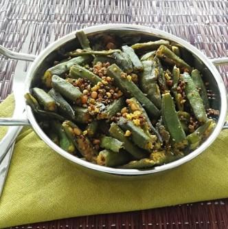 fried okra (bhindi) with black lentils