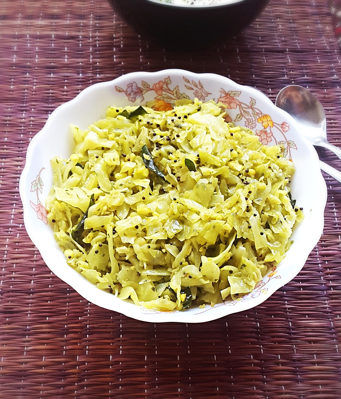 Cabbage With Coconut Stir Fry Recipe Cabbage Senagapappu Vepudu My Indian Taste